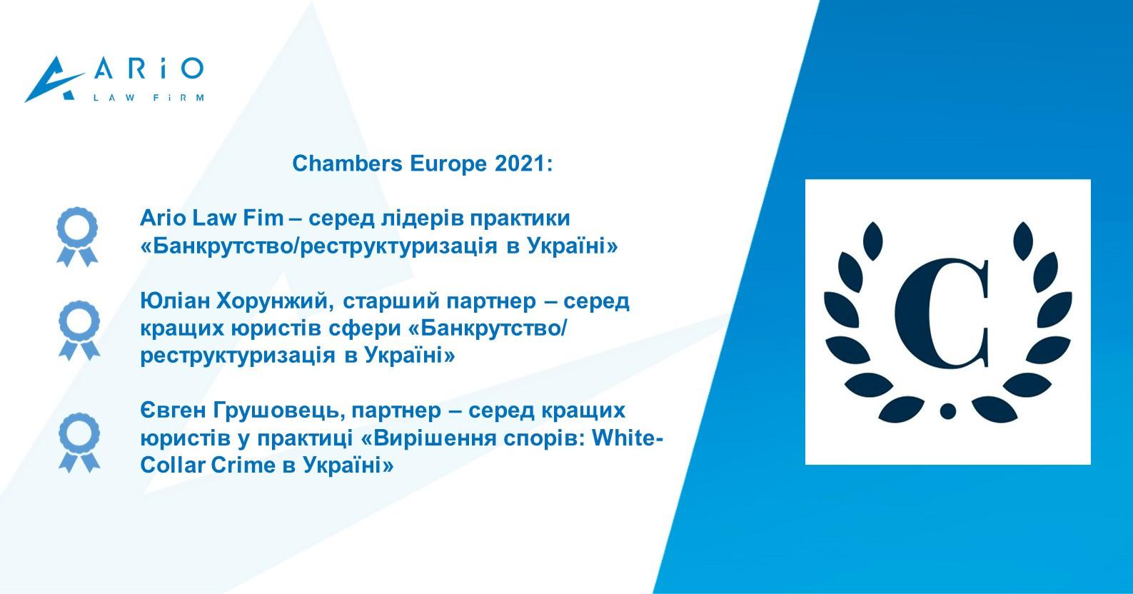 Chambers Europe 2021: Ario Law Firm та партнери фірми – серед лідерів